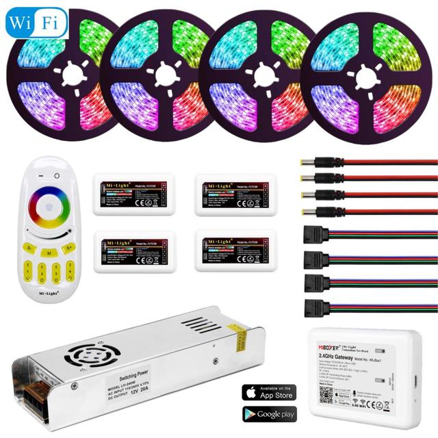 5050 RGBW RGBWW RGB Mi Light WIFI LED Strip Waterproof 5M 10M 15M 20M DC 12V LED Light 60led/m With RF Remote Controller Power