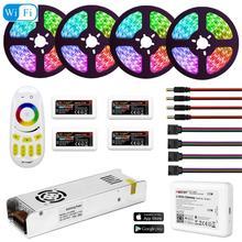 5050 RGBW RGBWW RGB Mi ışık WIFI LED şerit su geçirmez 5M 10M 15M 20M DC 12V LED ışık 60led/m RF uzaktan kumanda ile güç