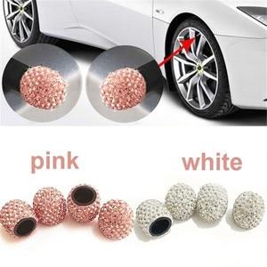 4 Pcs Crystal Car Tire Valve Caps Diamond Shining Car Accessories for Women Bling Car Charms