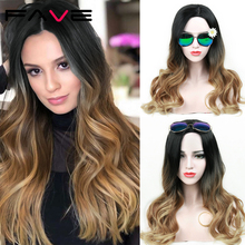 цена на Fave Long Ombre Black Brown Blonde Synthetic Wigs Gray Cosplay Heat Resistant For Black/White Women Glueless Wavy Daily Hair Wig