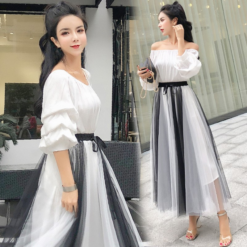 Women Slash Neck Blouse Tops  High Waist Sashes Mesh Skirts Sets Short Elegant Woman Two Piece Skirts Set