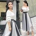 Women Slash Neck Blouse Tops High Waist Sashes Mesh Skirts Sets Short Elegant Woman Two Piece Skirts Set