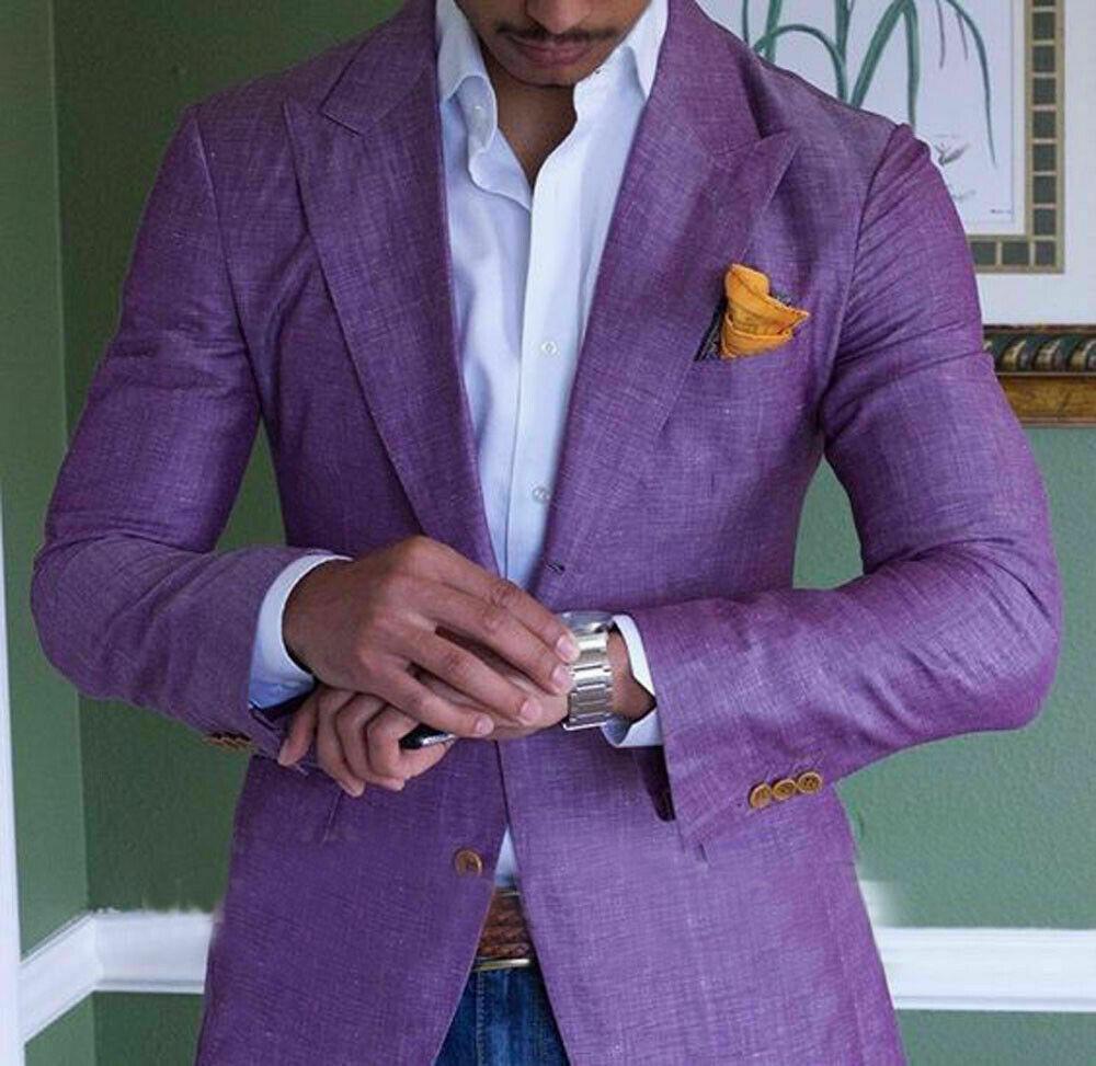 Purple Mens Linen Suits Summer Beach Jacket Slim Fit Suits For Men Tuxedo Groom Suits For Men Wedding Groomsman 1 PC