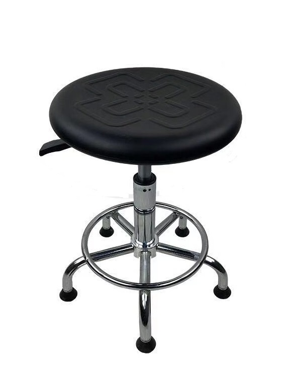 10pcs PACK, Swivel ESD Stool With Adjustable Height / ESD (Electro-Static Dissipating) PU Seat / Steel Tube Base