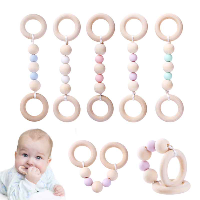 Wood Baby Teether Ring Chain Infant Nursing Silicone Wooden Beads Teething Toys Kids Tooth Training Teether Ring Chain Accessory