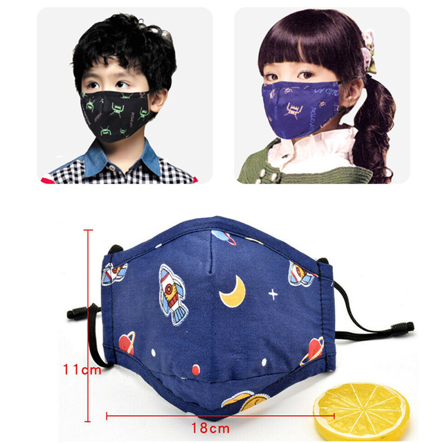 Mouth mask children cartoon reusable washable face mask face mouth cover dust mask cute pm2.5 dust mask fits 5-10 years old kids
