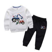 Одежда для девочек с мультяшным принтом экскаватора одежда мальчиков