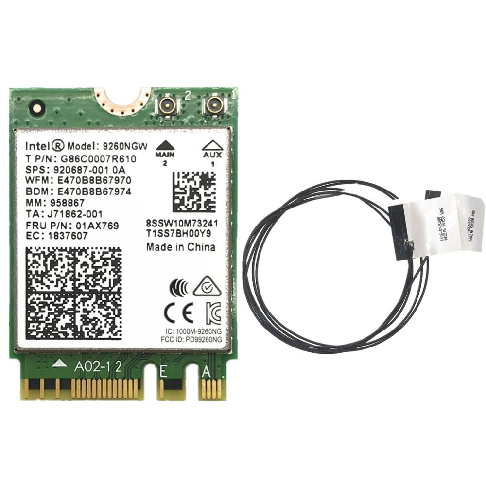 With 2pcs Antennas + 1.73Gbps Wireless 9260NGW NGFF Wifi Card For Intel Ac 9260 2.4G/5Ghz 802.11ac Bluetooth 5.0
