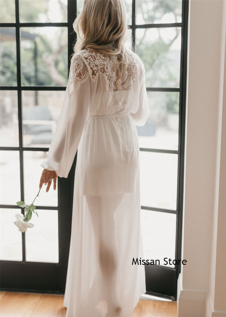 Sexy Ivory Lace Soft Chiffon Wedding Robe  Bridal Sleepwear Wedding Party Robe