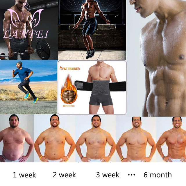 LANFEI Hot Noeprene Slimming Sweat Belt Men Belly Waist Trainer Weight Loss Corset Sauna Body Shaper Sport Workout Strap Fajas 2