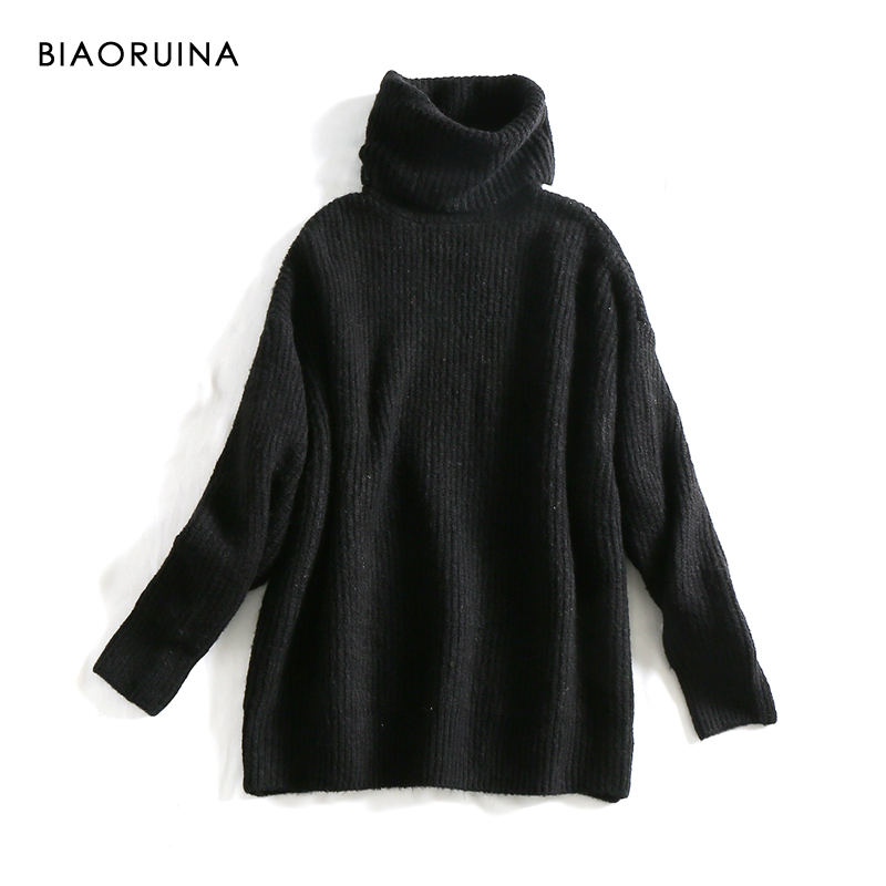 REJINAPYO 15 Color Women Fashion Solid Casual Knitted Sweater Female Turtleneck Oversized Pullover Ladies Elegant Loose Sweater 6