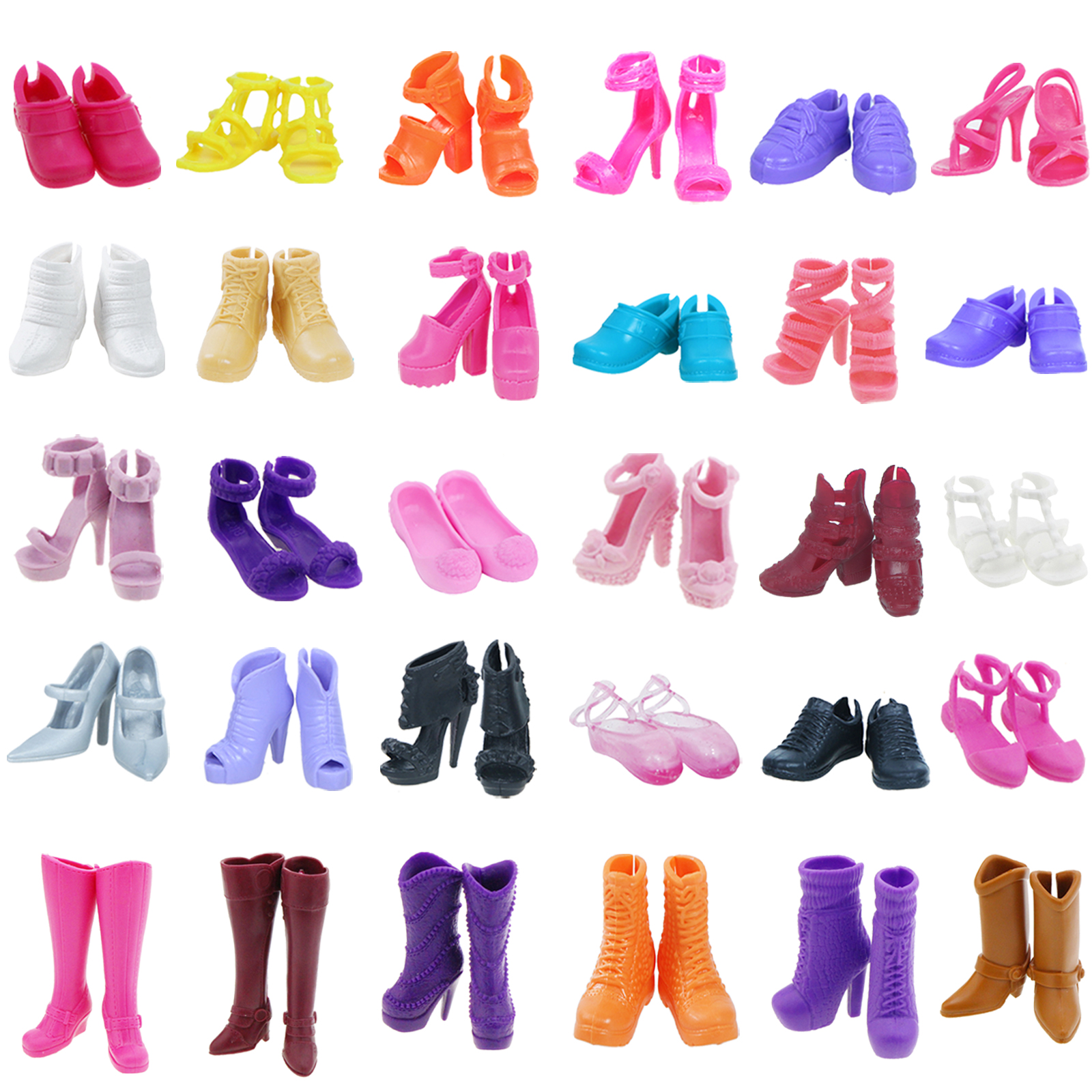 10 Pairs of Doll Shoes Pink Flower Heels Shoe For 11.5 inches Dolls