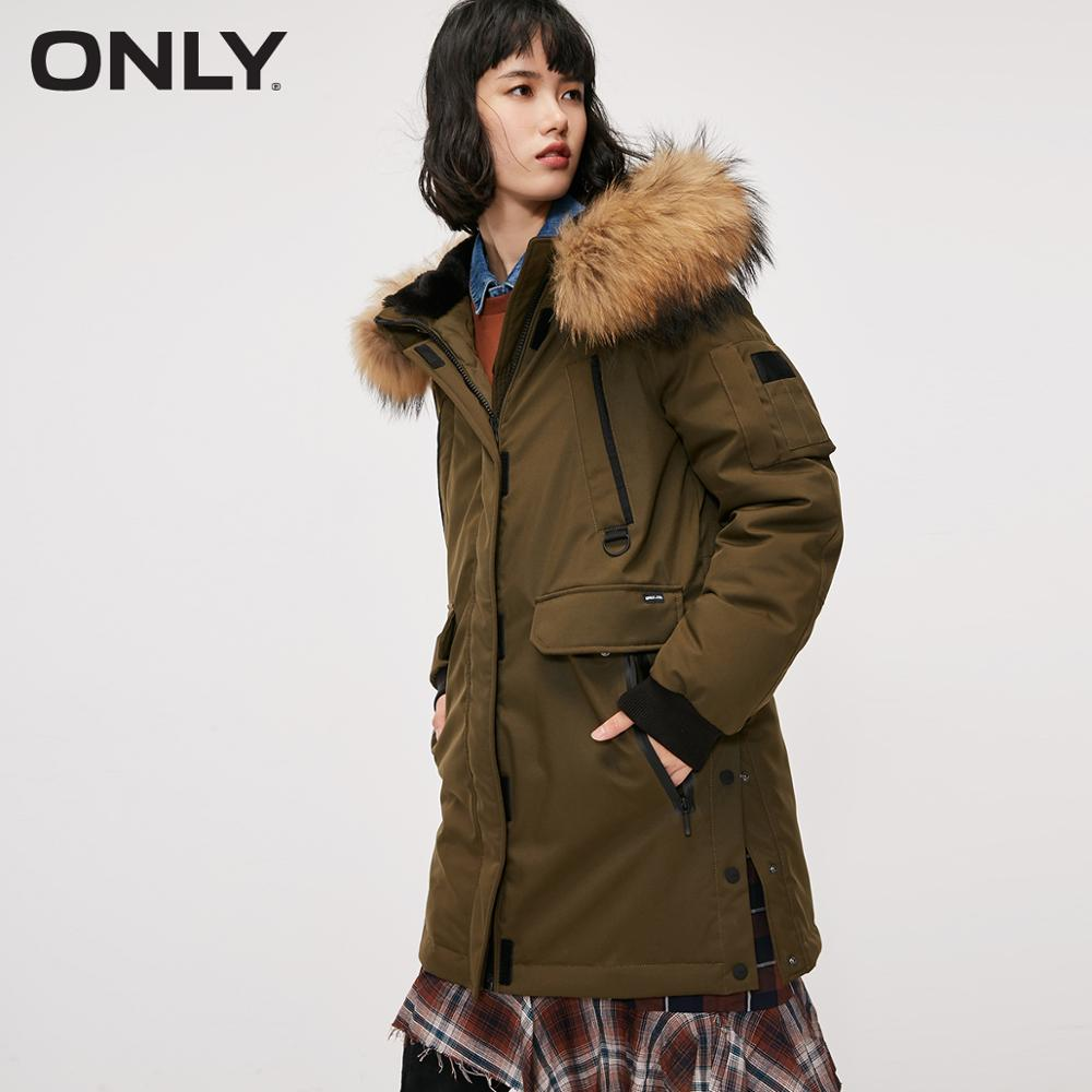 ONLY  Autum Winter New Arrivals Hook-and-loop Raglan Sleeves Hooded Down Jacket  | 118312559