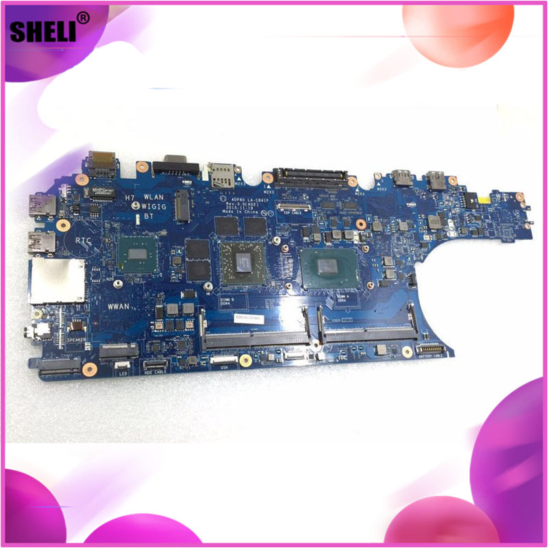 For Dell Precision 3510 GPDT3 0GPDT3 CN-0GPDT3 ADP80 LA-C841P <font><b>i5</b></font>-<font><b>6300HQ</b></font> <font><b>i5</b></font> <font><b>6300hq</b></font> cpu laptop Motherboard notebook pc Mainboard image