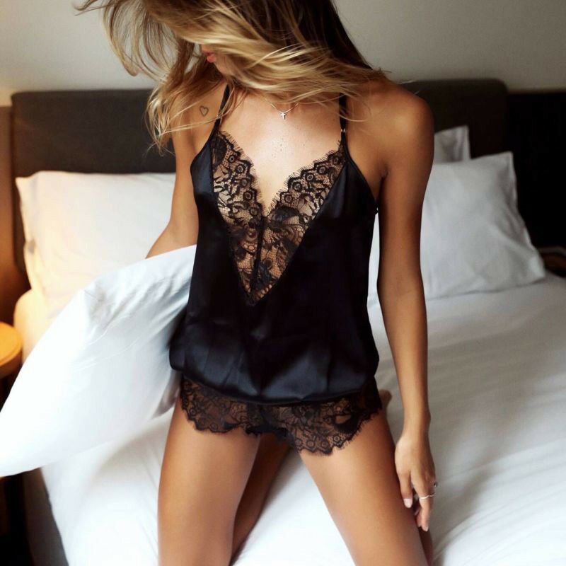 Women Lingerie Sexy Hot Erotic Dress For Sex Underwear Lace V-neck Sexy Bodysuit Sleeveless Underwear Open Crotch Bodysuit