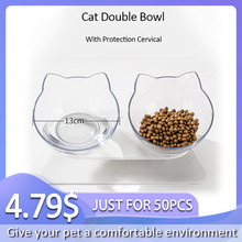 Double-Bowl Watering-Supplies Raised-Stand Dog-Feeder Cat-Feeding Non-Slip