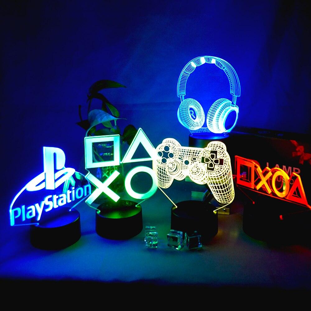 Игровые приставки игровая комната стол Настройка светильник ing Декор светодиодный Ночной светильник на столе игровой консоли значок Логот...