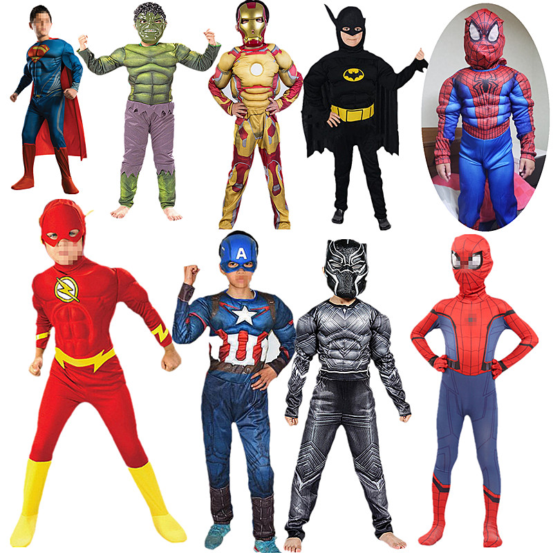 Boy Superhero Muscle Captain America Costume Child Cosplay Halloween Costumes for Kids Boys Girls Hulk Fist Party Gift