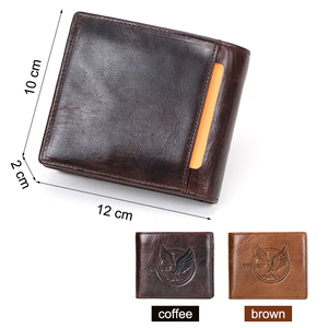 Image 3 - CONTACTS 100% Genuine Leather Men Wallet Coin Purse Small Card Holder Portomonee Male Wallets Vintage Money Bag Carteira Brand