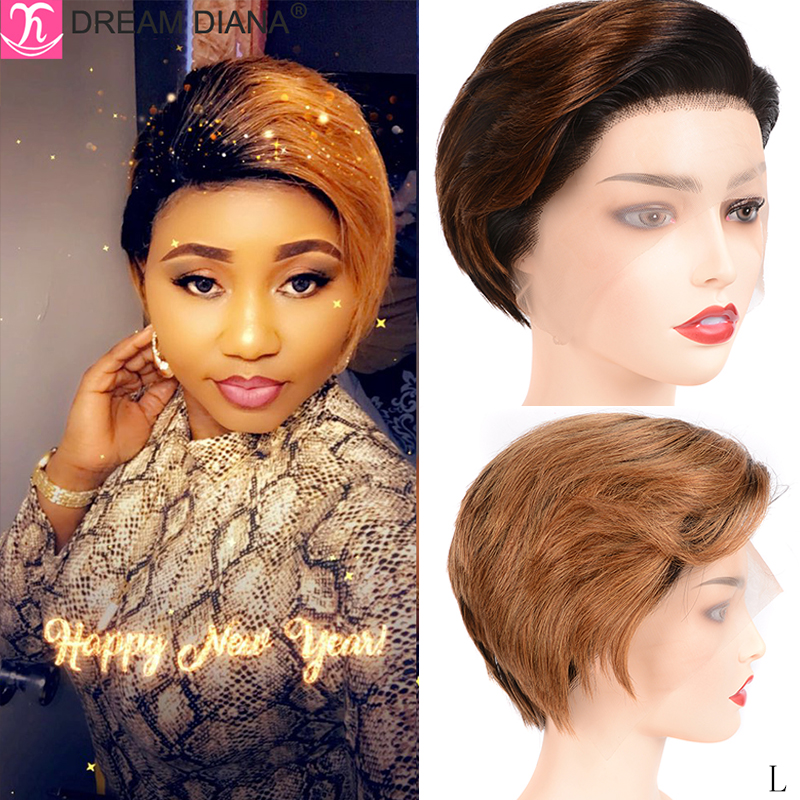 DreamDiana Ombre 13x4 Lace Front Wig 150 Density Ombre Straight Bob Lace Front Wig Remy Brazilian Lace Wig 100% Human Hair Wig L