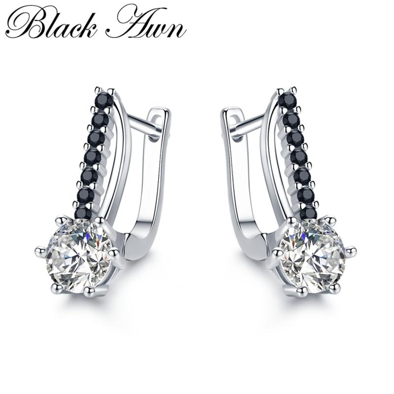 [Preto awn] bonito 925 prata esterlina jóias hoop brincos para mulher boucle doreoreille femme bijoux prata 925 jóias i119