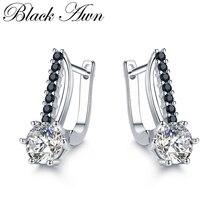 [Черный AWN] Милые 925 пробы серебряные серьги-кольца ювелирные изделия для женщин букле D'oreille Femme Bijoux серебро 925 ювелирные изделия I119