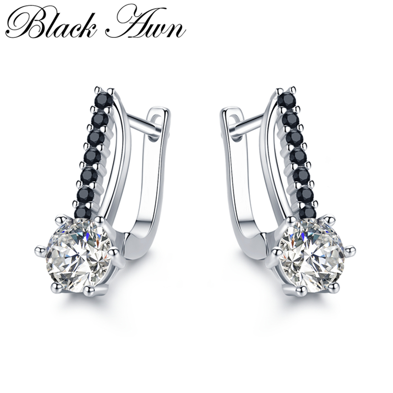[BLACK AWN] Cute 925 Sterling Silver Jewelry Hoop Earrings For Women Boucle D'oreille Femme Bijoux Silver 925 Jewelry I119