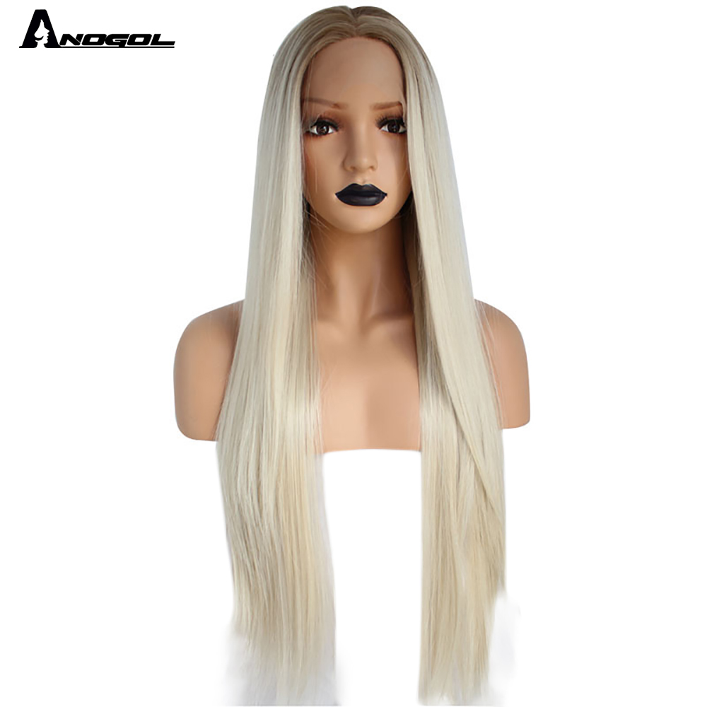 Anogol 2 Tones Natural Long Straight Platinum Blonde Ombre Dark Roots Middle Parting Synthetic Lace Front Wig For Women