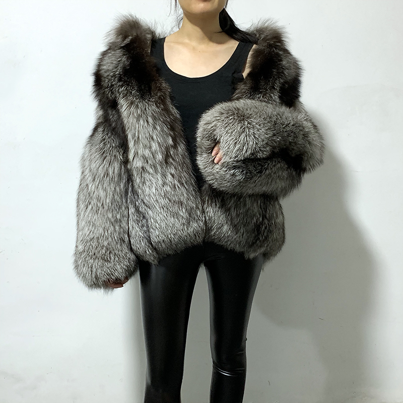 rf1969 Top Quality Luxury Women's Full Pelt Natural Fur Jacket Long Sleeve Super Thick Warm Silver Fox Fur Coat Real Fur Coat