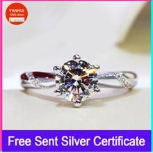 Big 98% OFF! Authentic 100% 925 Sterling Silver 6mm 1.0ct Zirconia Diamond Ring Wedding Fine Jewelry 2020 New Design YANHUI(363)