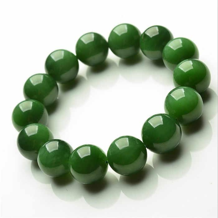 20 มม.สีเขียวธรรมชาติหยกลูกปัดสร้อยข้อมือกำไลข้อมือ Charm เครื่องประดับอัญมณีแฟชั่นอุปกรณ์เสริมมือแกะสลัก Man Amulet ของขวัญใหม่