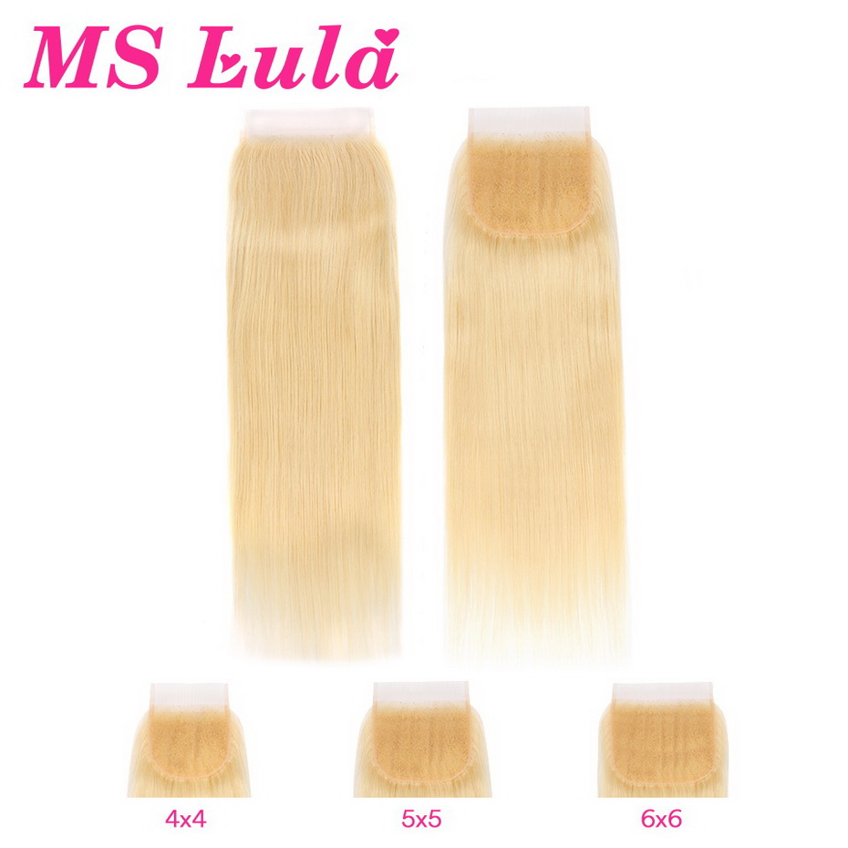 MS Lula 613 Blonde 5x5 4x4 6x6 Straight Lace Closure Brazilian Remy Human Hair 4x4 1b/613 Ombre Lace Closure 8-22 Inch For Women