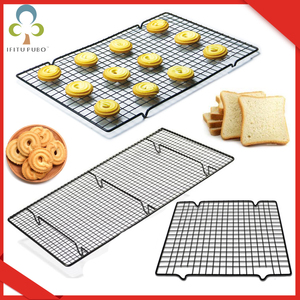 Stainless Steel Wire Grid Cooling Tray Cake Food Rack Oven Kitchen Baking Pizza Bread Barbecue Cookie Biscuit Holder Shelf ZXH(China)