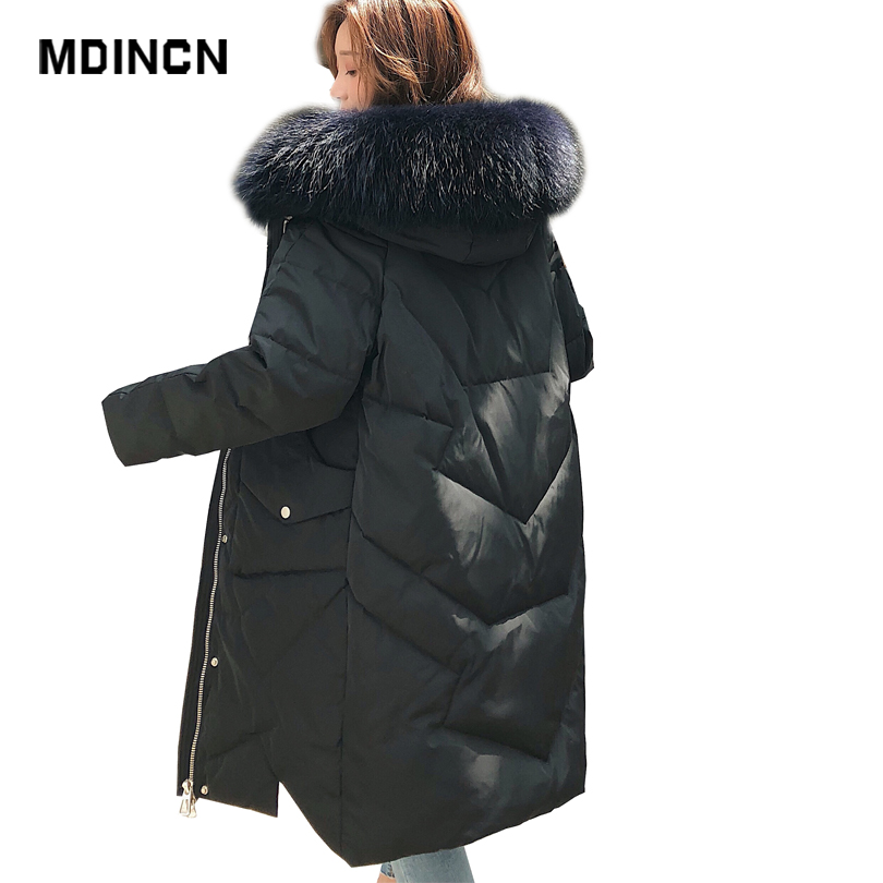 Authentic Women Long   Down   Jacket Winter Big Pocket 50% Cashmere Thickening Real Big Fur Collar Warm White Duck   Down     Coat