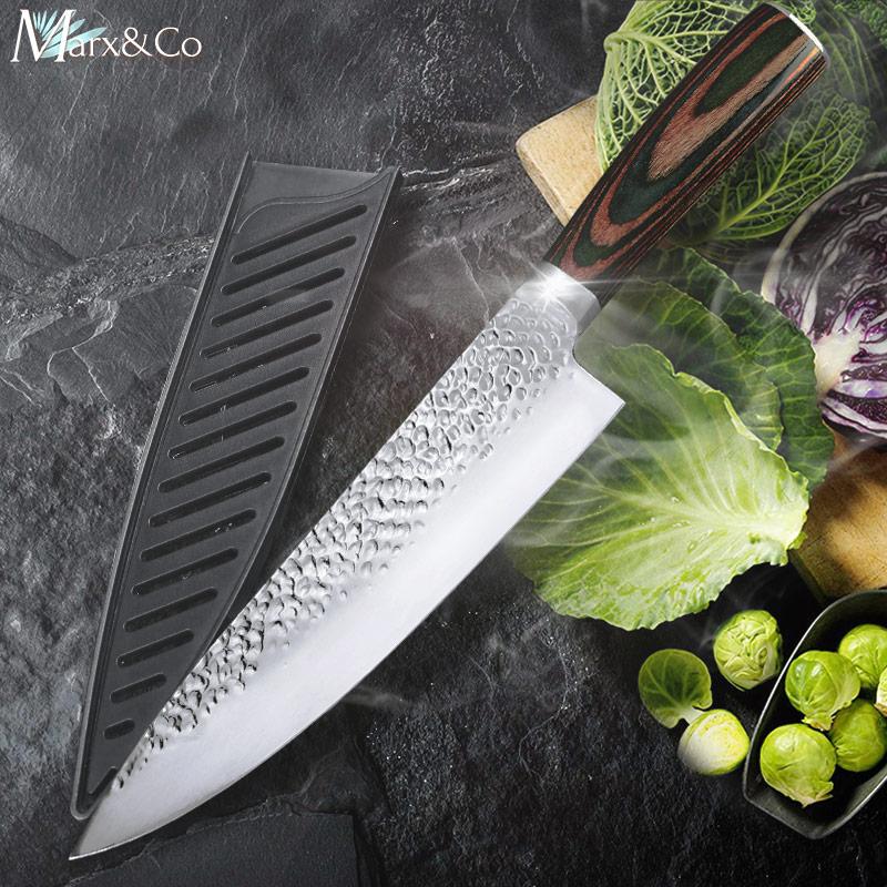 Kitchen Knife 8 Inch Chef 7CR17 440C German Stainless Steel Japanese Knives Meat Cleaver Slicer Utility Santoku Knife Tool Set