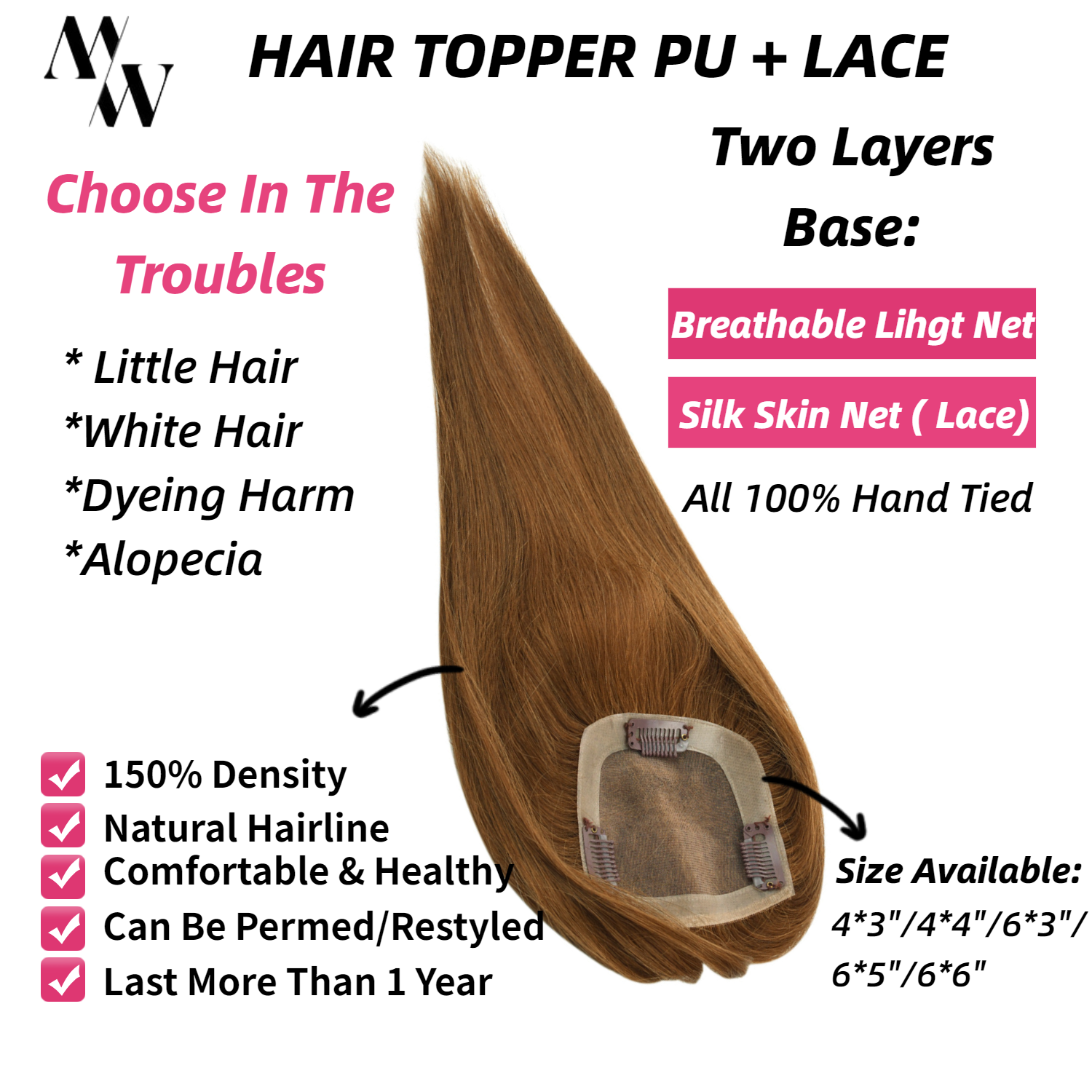 MW 100% Handtied Hair Topper Wig PU + Silk Base Lace Remy Human Hair For Women 3 Clips Hair Toupee 150% Density Natural Hairline