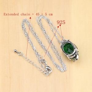 Image 5 - 925 Sterling Silver Jewelry Green Zircon White CZ Jewelry Sets Women Earrings/Pendant/Necklace/Rings/Bracelet T225