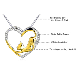Image 2 - YFN Necklace 925 Sterling Silver Necklace Heart Cat Crystal Zircon Pendant Womans Jewelry Necklace Girls Gift Graduation Gifts