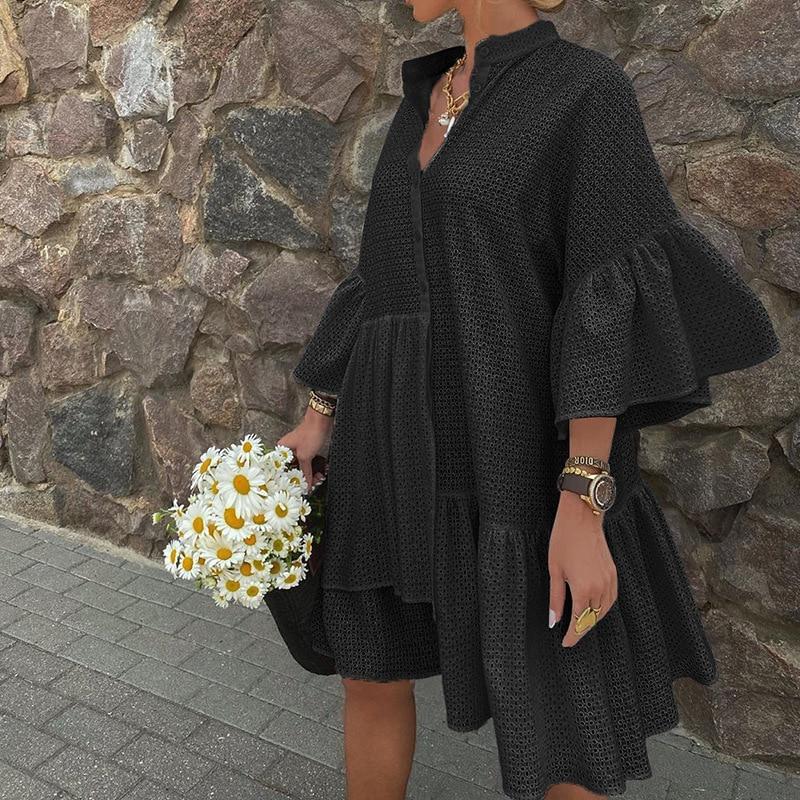 Sexy Mesh Sehen Durch Hemd Kleid Herbst Drei Viertel Sleeve Solide Schwarz Mini Kleid Lose V-ausschnitt Flare Hülse Rüsche kleider