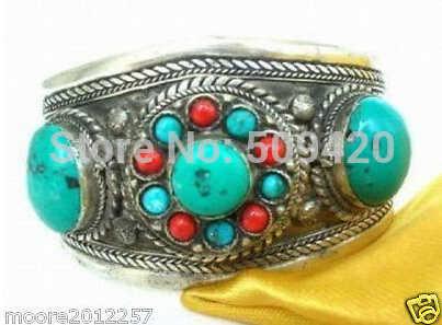 Бесплатная доставка> тибетский серебряный бирюзовый коралловый браслет из бисера