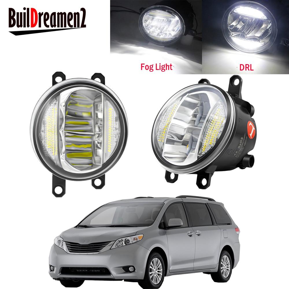 2 adet araba ön tampon LED sis işık meclisi gündüz farı DRL 30W H11 12V toyota için sienna 2009 2010 2011 2012 2013