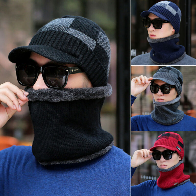 2pc Men Winter Scarf Hat Set Boy Plaid Thermal Cap Beanie Hat Knitted Winter Cap Beanie Wool Neck Scarf Cap