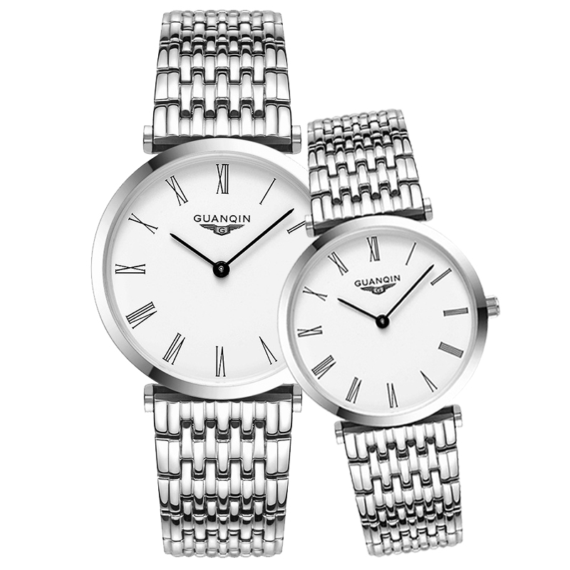 GUANQIN парные часы для пар для мужчин и женщин минималистичные часы кварцевые наручные часы ультра тонкие часы для влюбленных винтажные парны...