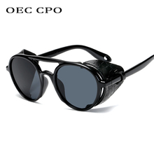 OEC CPO New Men Steampunk Sunglasses For Leather Punk Round Women Vintage Shades High Quality UV400 O74