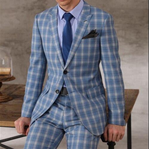 Sur mesure haute qualité 150's laine et cachemire tissu bleu ciel costume à carreaux hommes poitrine costume personnalisé hommes coupe ajustée laine Blazer