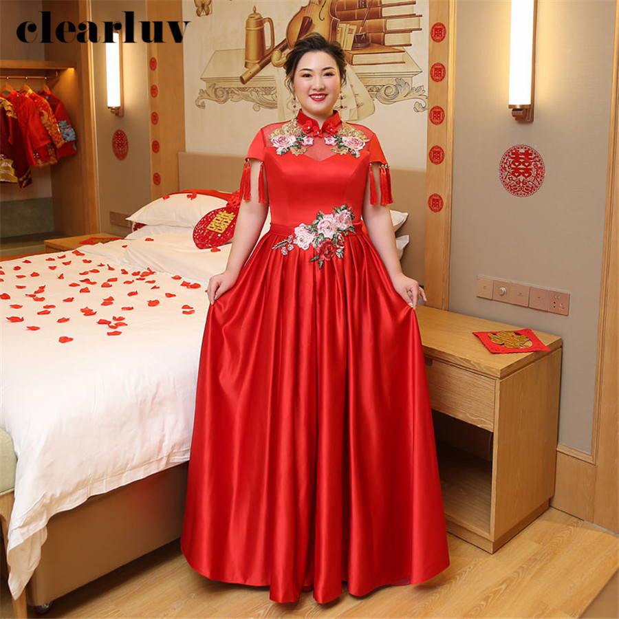 Wedding Dress Vintage Embroidery Chinese  Style Wedding Gown T261 2019 Free Shipping Plus Size Robe De Mariee Tassel Bride Dress