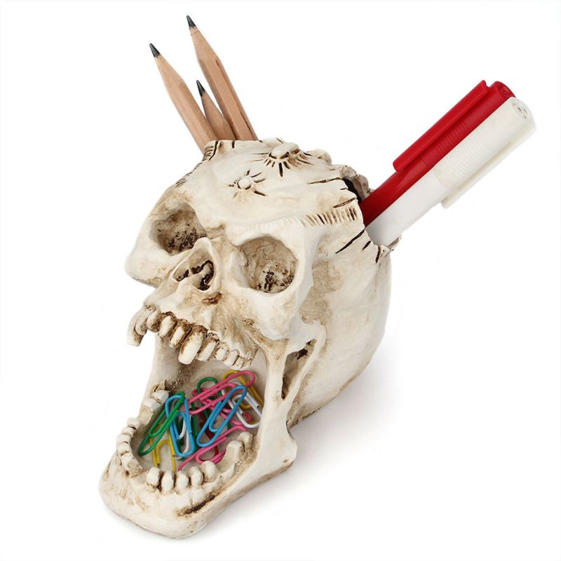Skull Head Ornament Skeleton Pen Holder Desktop Pencil Organizer Makeup Storage