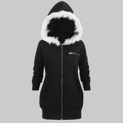Plus Size Hooded Faux Fur Gedrukt Vrouwen Brede Taille Jas Warm Uitloper Casual Sweatshirts Big Size 5XL Lange Tops winter