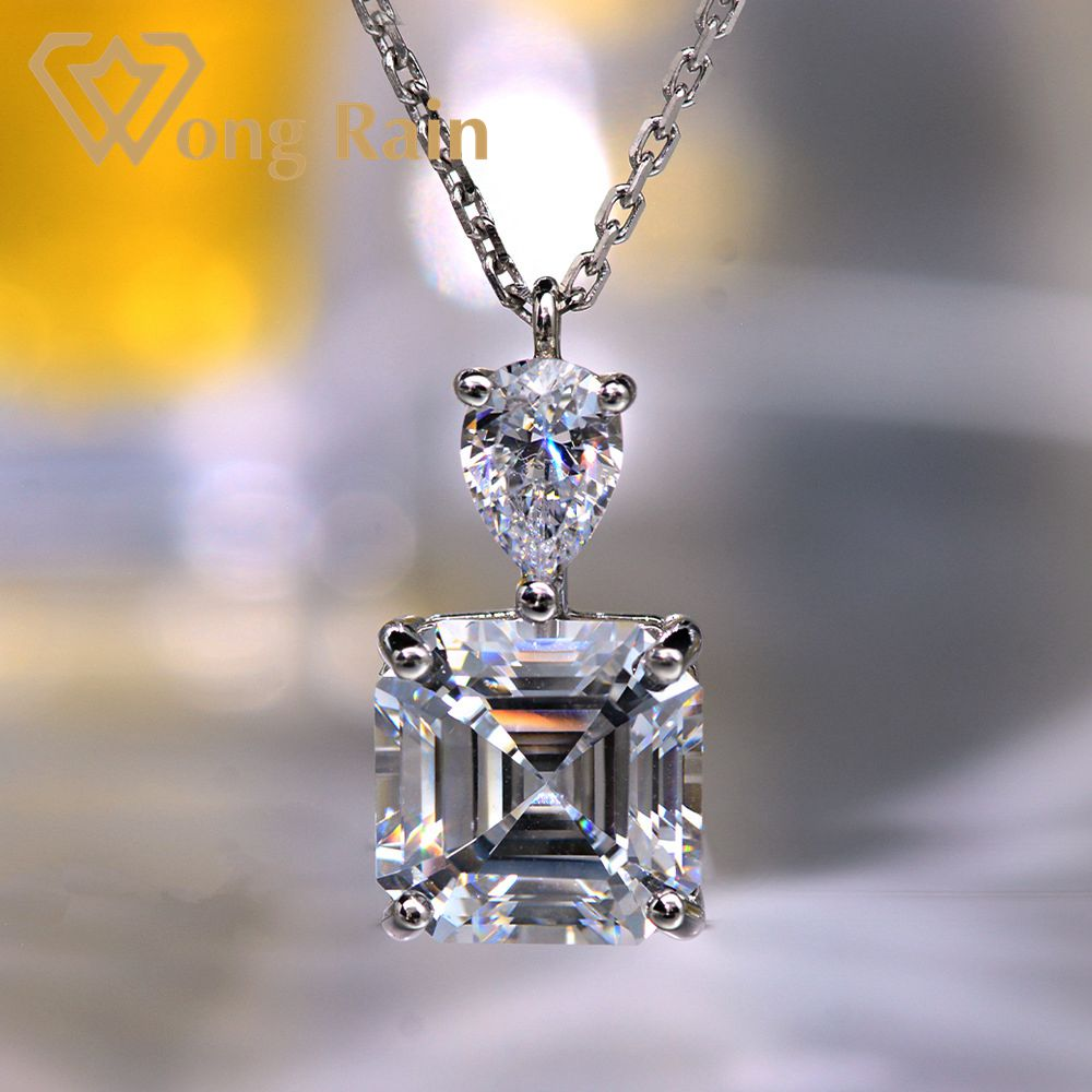 Wong Rain 925 Sterling Silver Asscher Cut Created Moissanite Gemstone Wedding Engagement Pendent Necklace Fine Jewelry Wholesale