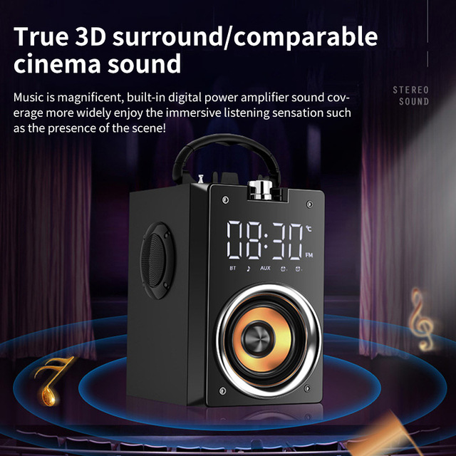Bluetooth hoparlör taşınabilir büyük güç kablosuz 2200mAh Subwoofer ağır bas Stereo müzik çalar lcd ekran FM radyo TF